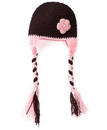 Buttercup From KnittingNani Braided Cap With Ear Flap - Brown & Pink