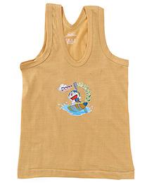 Doraemon Sleevless Printed Vest - Golden