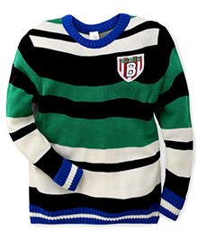Babyhug Full Sleeves Striped Sweater Rugby Print - Green Black