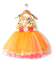 Bluebell Sleeveless Party Frock With Floral Applique - Orange