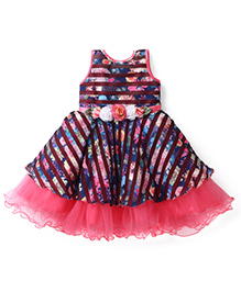 Bluebell Sleeveless Party Frock Flower Applique - Pink And Navy