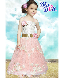 Bluebell Full Sleeves Party Dress With Inner Floral Embellishment - Peach