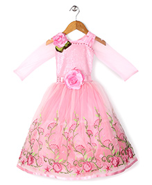 Bluebell Full Sleeves Party Dress Floral Embellishment - Pink