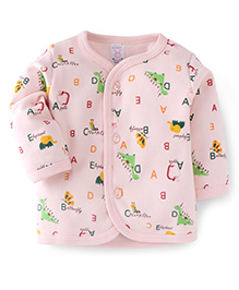 Pink Rabbit Full Sleeves Alphabets Print Vest - Light Peach
