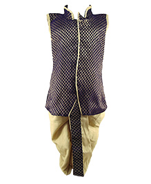 Tiny Toddler Jacket Dhoti Set - Purple & Golden
