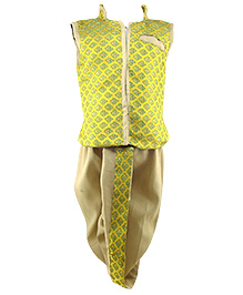 Tiny Toddler Jacket Dhoti Set - Yellow