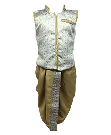 Tiny Toddler Jacket Dhoti Set - White