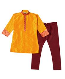 Bunchi Colorama Kurta Pyjama Set - Yellow & Maroon
