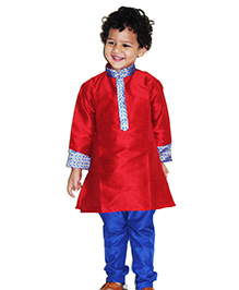 Bunchi Colorama Kurta Pyjama Set - Maroon & Blue