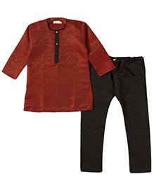 Bunchi Self Print Kurta Pyjama Set - Maroon & Black