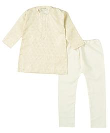 Bunchi Self Print Kurta Pyjama - White