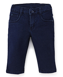 Babyhug Solid Denim Capri With Pockets - Dark Blue