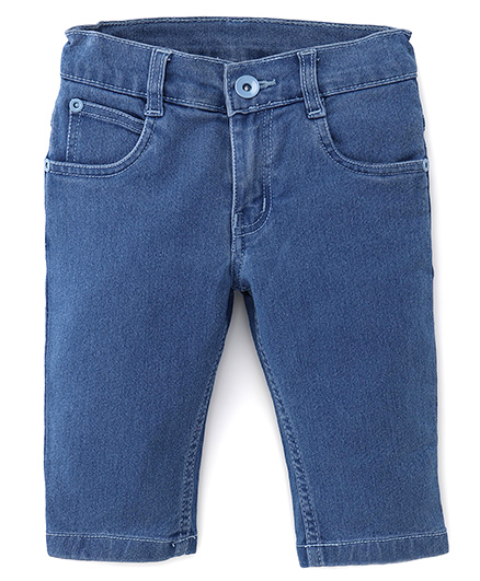 Babyhug Solid Denim Capri With Pockets - Light Blue