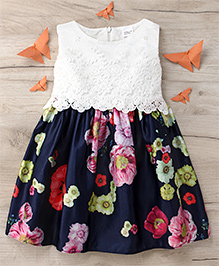 Party Princess Party Dress With Printed Flower - Multicolor