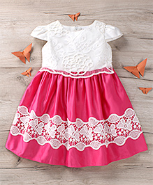 Party Princess Party Wear Dress With Lace - White & Pink