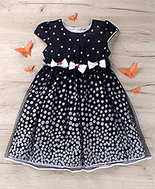 Party Princess Party Dress With Polka Dots Print - Black