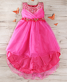 Party Princess Party Gown With Beads - Fushia