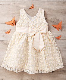 Party Princess Party Frock With Sequence And Pearls - Golden
