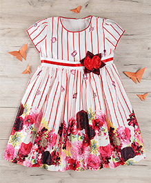 Party Princess Party Dress With Flower Print - White & Red