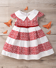Party Princess Party Dress With Belt - Red & white
