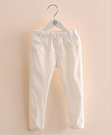 Pre Order : Mauve Collection Pretty Jeggings For Lil Girls - White