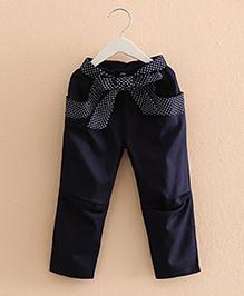 Pre Order : Mauve Collection Classy Ribbon Belt Pant - Blue