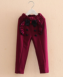 Pre Order : Mauve Collection Pretty Frill Style Pants - Wine
