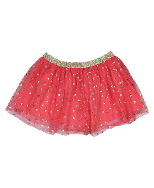 9 Yrs Younger Party Wear Skirt Star Design - Pink