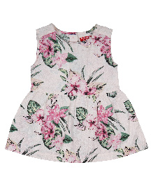 9 Yrs Younger Sleeveless Frock Floral Print - Off White