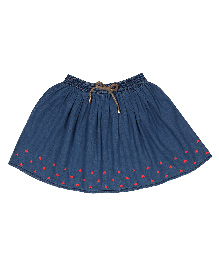 9 Yrs Younger Denim Skirt Heart Embroidery - Blue