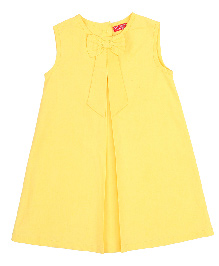 9 Yrs Younger Sleeveless Frock Bow Applique - Yellow