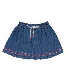 9 Yrs Younger Denim Skirt Floral Embroidery - Dark Blue