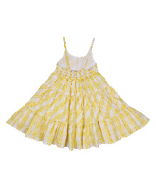 9 Yrs Younger Singlet Checks Print Frock - Yellow & White