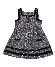 9 Yrs Younger Sleeveless Printed Frock - Black