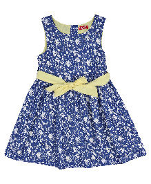 9 Yrs Younger Sleeveless Frock Floral Print - Blue