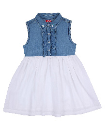 9 Yrs Younger Sleeveless Collar Neck Frock - Blue & White