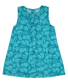 9 Yrs Younger Sleeveless Frock Pineapple Print - Cyan