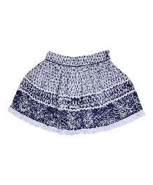 9 Yrs Younger Rayon Crepe  Printed Skirt - Blue
