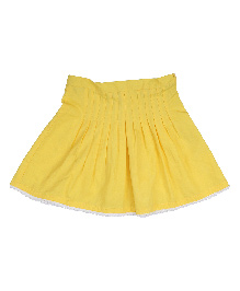 9 Yrs Younger Solid Gathered Pleat Skirt - Yellow