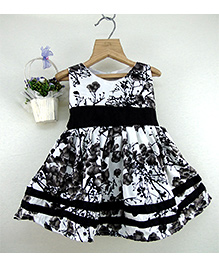 Tiny Toddler Printed Dress With Border - Black