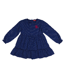 9 Yrs Younger Full Sleeves Printed Dress - Navy Blue