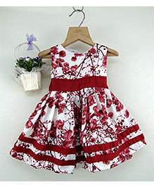 Tiny Toddler Printed Dress With Border - Brown