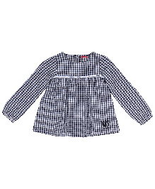 9 Yrs Younger Full Sleeves Checks Top - Navy Blue