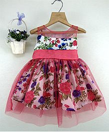 Tiny Toddler Floral Print With & Bow - Pink