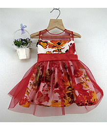 Tiny Toddler Floral Print Dress With Bow - Red