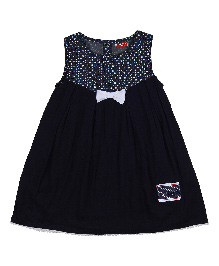 9 Yrs Younger Sleeveless Cotton Frock Bow Applique - Navy Blue