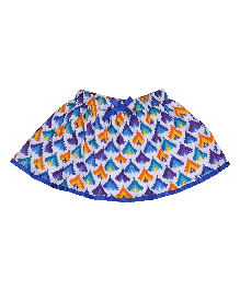 9 Yrs Younger Printed Skirt With Satin Border - Blue
