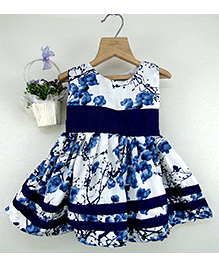 Tiny Toddler Printed Dress With Border - Blue