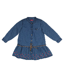 9 Yrs Younger Full Sleeves Hearts Print Dress - Denim Blue