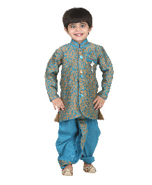 Kishore Dresses Full Sleeves Embroidered Kurta and Dhoti Pant Set - Blue and Brown